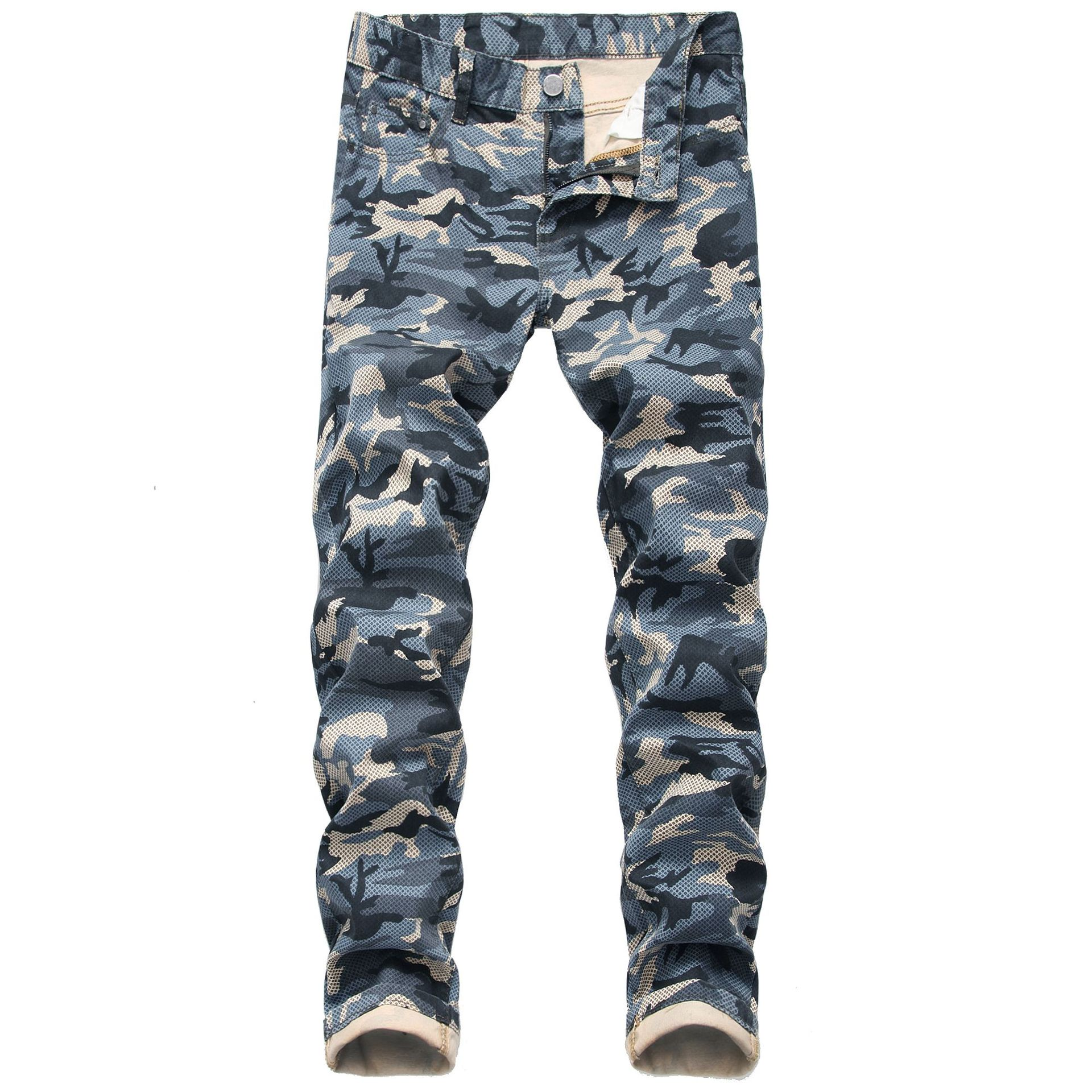 High Quality Men Casual Jeans Straight Slim Camouflage Printed elastic Jeans Male Fashion Cotton Denim Pants Plus Size 44
