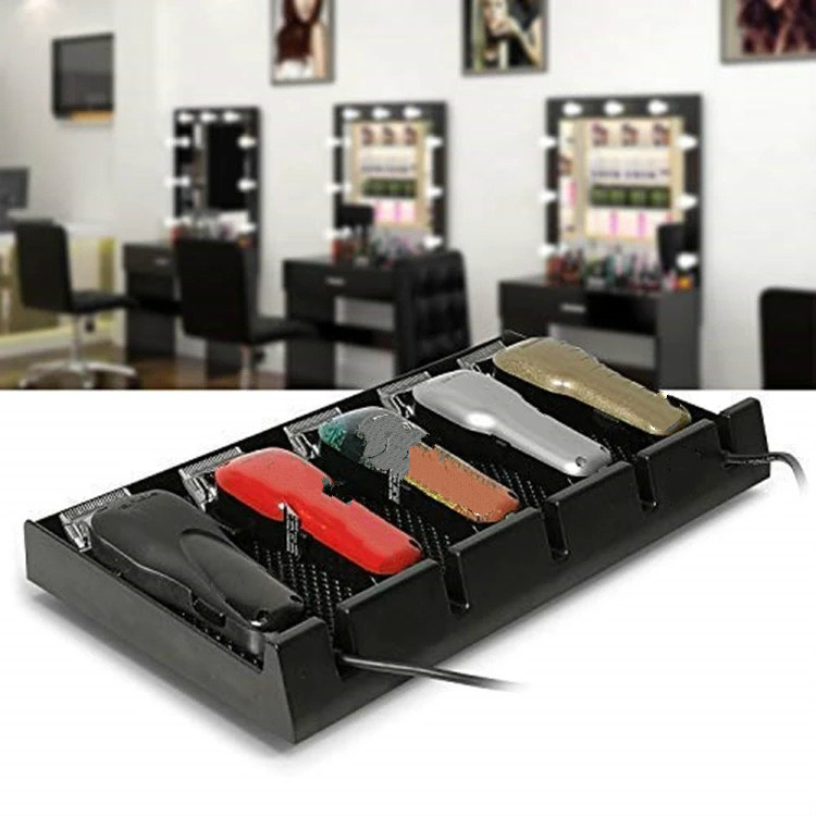 Salon Barber Clipper Tray Anti-slip Salon Clippers Organizer Razor Case With 5 Slots Professional Hair Trimmer Holder Hair Salon