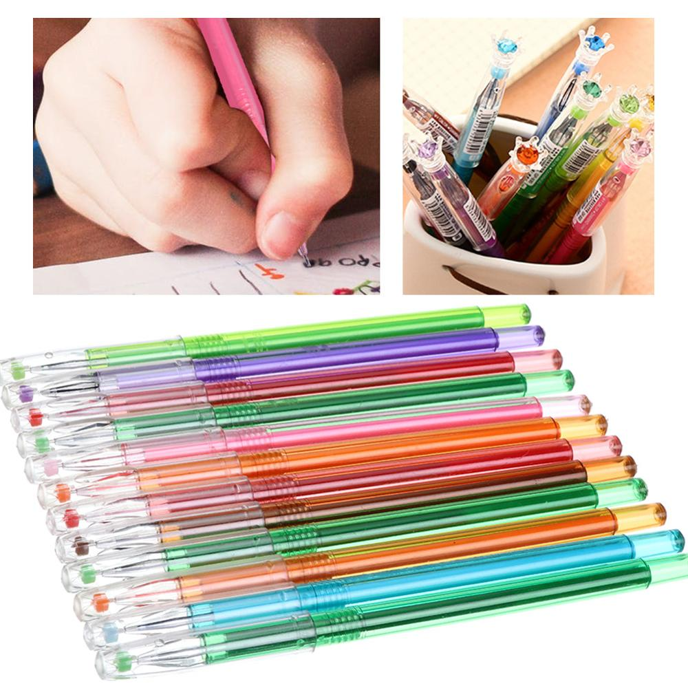 Gel Pen Candy Colors Colorful 0.5mm 12PCS Set For School Office Supplies Colored Diamond Heads Gel Pens