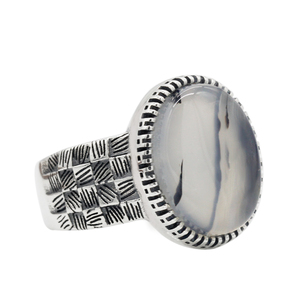 Image 3 - 925 Sterling Silver Men Ring with Big Natural Onyx Stone Vintage Weave Style Thai Silver Ring for Men Women Turkish Jewelry