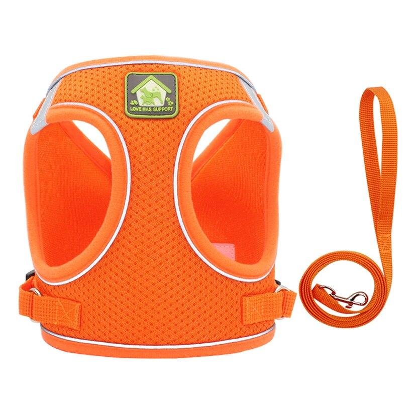 Orange-Reflective Puppy Cat Harness Vest