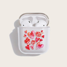 Painted love rose bluetooth headset protective case for airpods2 hard shell transparent(China)