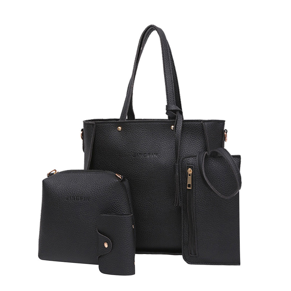 4pc Handbags & Crossbody Bags Wallet Bags For Women Set Zipper Solid Tassels Soft Leather Single Shoulder Bags Casual Tote Women