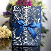 100pcs/set Laser Cut Wedding Invitation Card Follow Floral Marriage Greeting Card with A Bow Wedding Decor Party Supplies