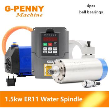 G-PENNY Water Cooled Spindle 1.5KW ER11 4 pcs Bearing & 1.5KW Inverter / VFD & 80mm Spindle Bracket & 7W Water Pump turbo cartridge chra trust td06 20g water cooled 303 02102 072