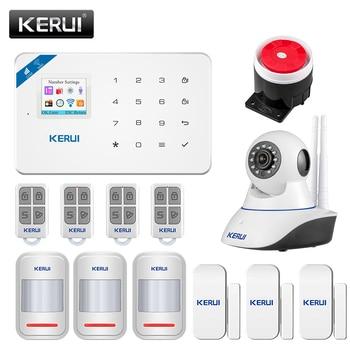 KERUI W18 Security Alarm System Wireless WiFi GSM For Home  Burglar Alarm Kit Android ios APP Control  With Remote Controller kerui w18 wireless wifi gsm alarm systems security ios app gsm sms burglar alarm system motion sensor russian warehouse