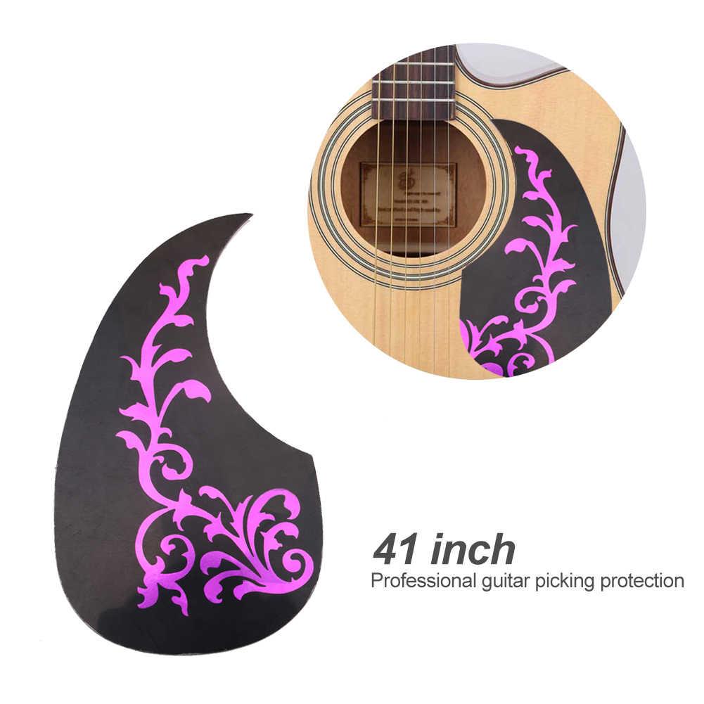 PVC Profesional Pelat Pelindung Badan Gitar Akustik Bunga Pola Pick Guard Gitar Melindungi Stiker untuk 41 Inci Gitar