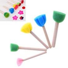 5 pçs punho de madeira esponja pincel pintura crianças flor graffiti arte desenho pintura brinquedos ferramenta escola artigos de papelaria suprimentos