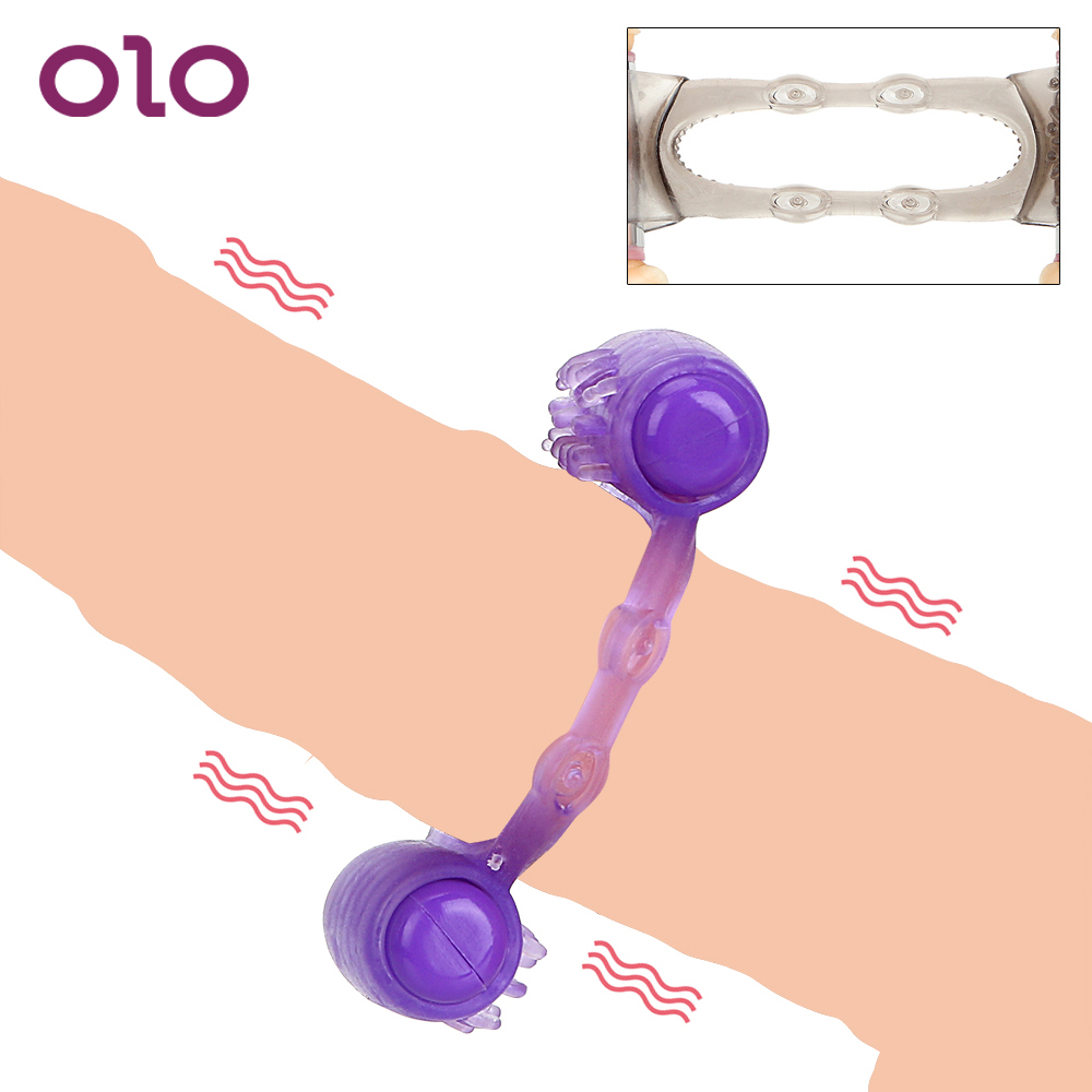 OLO <font><b>Adults</b></font> Products <font><b>Penis</b></font> Ring Dual Motor Clit Stimulator Cock Ring Vibrating Ring <font><b>Sex</b></font> <font><b>Toys</b></font> for Men Male <font><b>Penis</b></font> Vibrator image