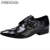 Italian Luxury Belt buckle Men Dress Shoes crocodile skin Party pointed gentleman Oxford Shoes Handmade Men Wedding Footwear