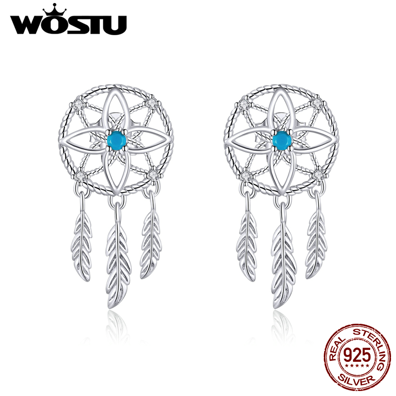 WOSTU New Arrival 925 Sterling Silver Dreamcatcher Drop Earrings Blue Zircon Feather Dangle Earrings For Women Jewelry CTE339
