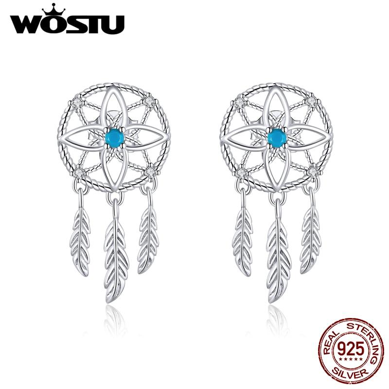 WOSTU New Arrival 925 Sterling Silver Dreamcatcher Drop Earrings Blue Zircon Feather Dangle Earrings For Women Jewelry CTE339