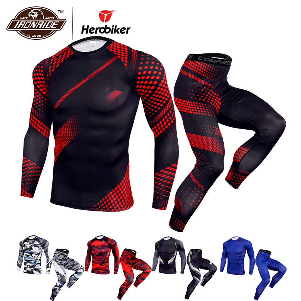 HEROBIKER Motorcycle Jacket Men Chaqueta Moto Quick Dry Sport Suit Running Sportswear Breathablet Shirt Pants Suits  For Summer