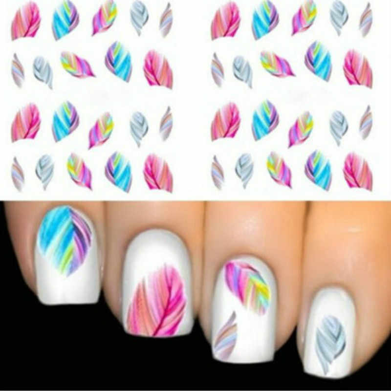 1pcs Design Colorful Water Transfer Stickers Nail Art Tips Feather Decals Nail Art Decoration Wraps Fingernails Tools 12 Styles