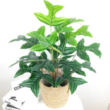 65cm Tropical Monstera Large Artificial Plants Fake Palm Tree Green Plastic Leafs 18 Heads Coconut Tree Branches For Home Decor