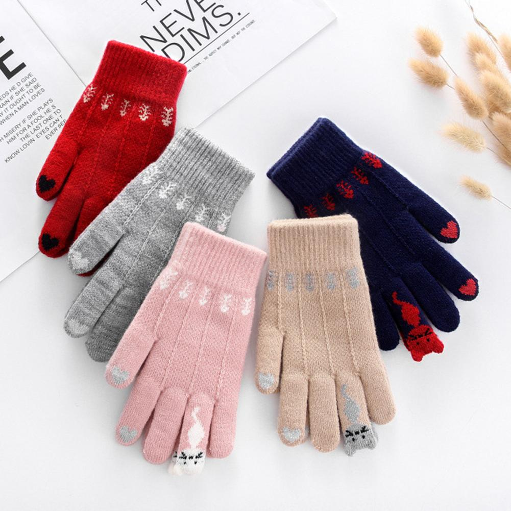 Vintage Christmas Knitted Gloves Warm Women Cats Fish Bones Guantes Full Finger Touch Screen Mittens Gift перчатки женские