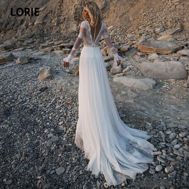 LORIE Beach Bohemian Wedding Dresses V Neck Long Sleeves Lace Appliques Dream Bridal Gowns Boho A Line Princess Gowns Plus Size 2