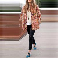 Vintage Blazers Autumn Women's High Street Printed Jackets