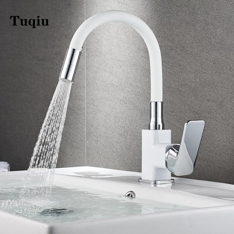 Grifo de lavabo, grifo de baño, grifo giratorio de 360 grados, grifo mezclador de lavabo, grifo de agua caliente y fría, palanca única, blanco y negro