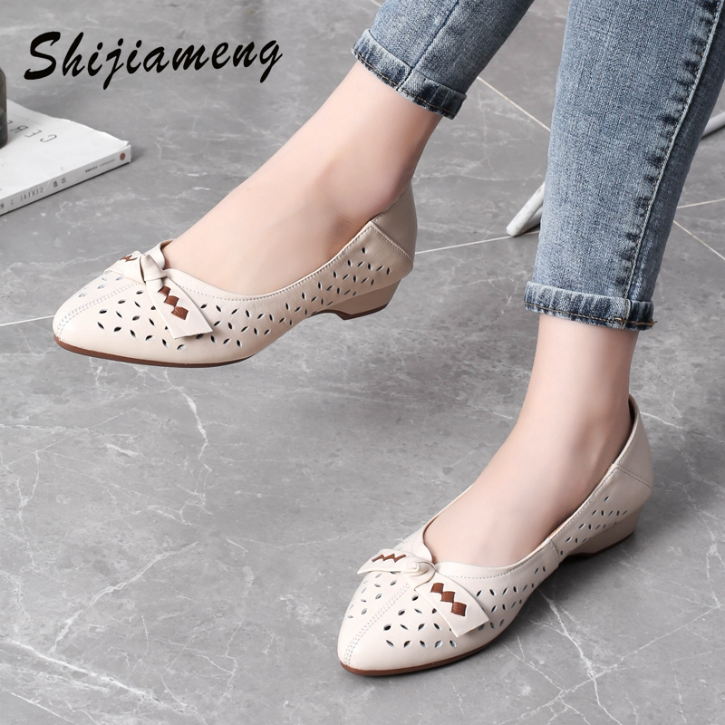 Breathable Genuine Leather Summer Shoes Woman 2021 Flat Low Heel Bowknot Hollow Out Leather Slip On Shoes For Women Soft