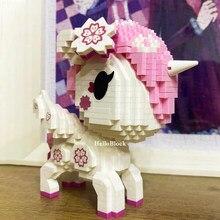 Balody criador série bonito unicórnio mini diamante blocos de construção tijolos modelo cavalo dos desenhos animados brinquedos para o miúdo presente aniversário