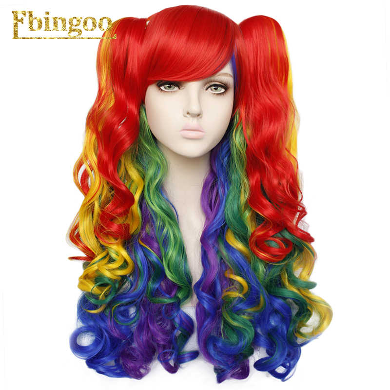 Ebingoo Lolita Long Body Wave High Temperature Fiber Mixed Colors Multi-color Colorful Synthetic Cosplay Wigs 2 Ponytail