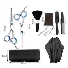Ścinanie włosów nożyczki i nożyce do cieniowania zestaw profesjonalna fryzura zestaw nożyczek kryty zestaw fryzjerski z klipsem grzebieniowym Cape and