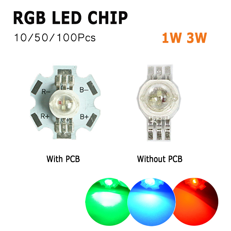 10 50 100pcs White Red Blue Yellow Diodes Chip LED COB Chip 3 Watts Lamp Beads