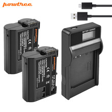 Powtree EN-EL15 ENEL15 Battery+LCD USB Charger For Nikon D7000 D7100 D800 D800E D600 D610 D810 D7200 V1 Camera L15 EN EL15
