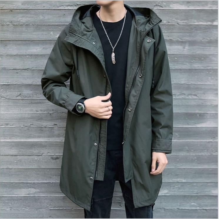 Men's Windbreaker Medium Length Jacket Men's 2020 Hooded Men's Jacket Casual Coat Coat