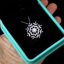 Huitan Ослепительная Снежинка дизайн полный кубического циркония кулон ожерелье для женщин ювелирные изделия юбилей подарок рождественские ...