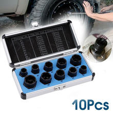10pcs Damaged Bolts Nuts Screws Remover Extractor Removal Tools Set Aluminum Alloy Black & Extractors Box