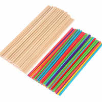 50Pcs Natural Wood Multicolors Ice Cream Sticks Portable Popsicle Stick Ice-lolly Sticks Handmade DIY Hand Crafts Accessories