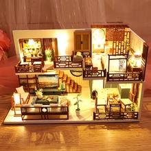 Набор CUTEBEE для кукольного домика «сделай сам», деревянный миниатюрный кукольный домик, набор мебели со светодиодом, игрушки для детей, подар...
