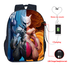 Pokemon USB charging backpack Mega Charizard split students boys girls backpack women men portable travel backpack цена в Москве и Питере