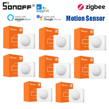 1/10 pces zigbee sonoff SNZB-03 suporte do sensor de movimento 110 ° visão ampla baixa-notificação de bateria casa inteligente com alexa google casa