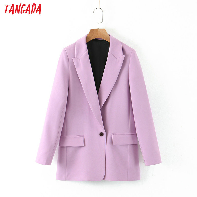 Tangada Women Spring Light Purple Blazer Female Long Sleeve Elegant Jacket Ladies High Street Blazer Suits SL218