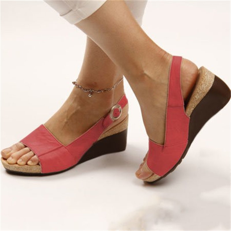 European American Popular New Summer 2020 Comfortable Middle Heel Wedges Pumps Ladies Shoes 34-43 Peep Top Buckle Sandals Women