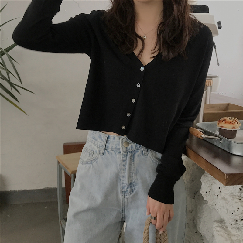 Women's Knit Cardigan Sweater Fashion Chic Short  Knit Cardigan New Short Thin V-neck F Long Sleeve Outer Tops Female Tops GD048