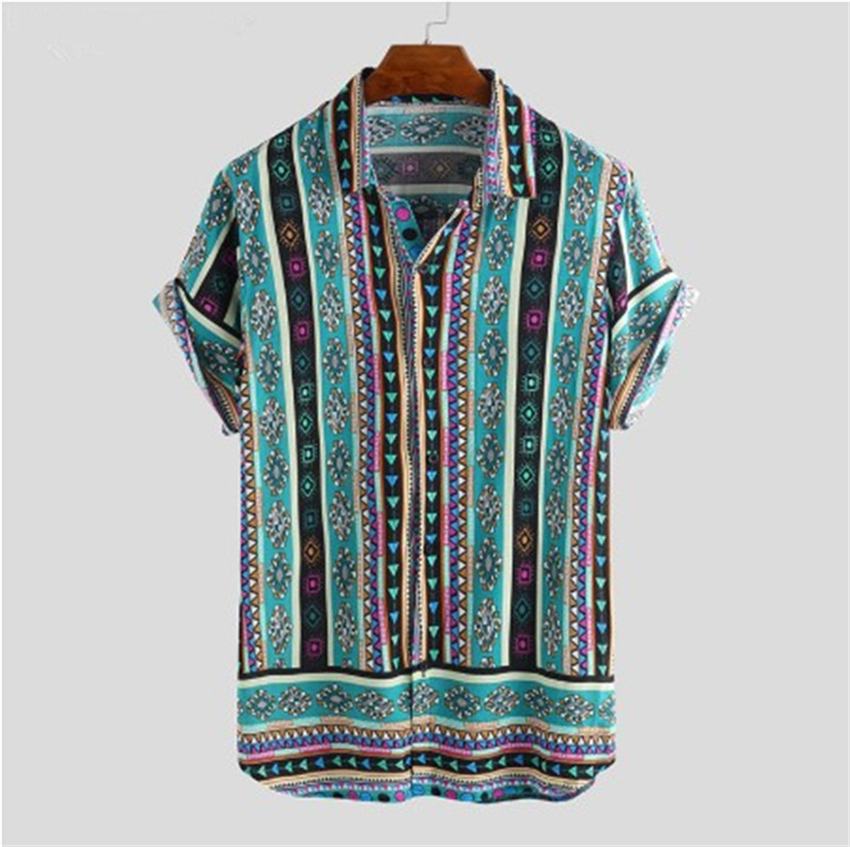 Men Shirt Ethnic Style Print Men Casual Shirt Lapel Neck Streetwear Short Sleeve Tops 2020 Loose Tropical Hawaiian Shirt Men