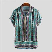 Männer Hemd Ethnischen Stil Druck Männer Casual Shirt Revers Hals Streetwear Kurzarm Tops 2020 Lose Tropical Hawaiian Shirt Männer