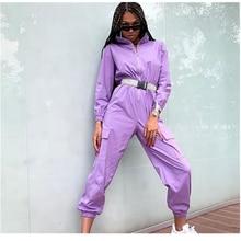 Women's New Zipper Half Stand Collar Big Pocket Loose Jumpsuits with Belt Women