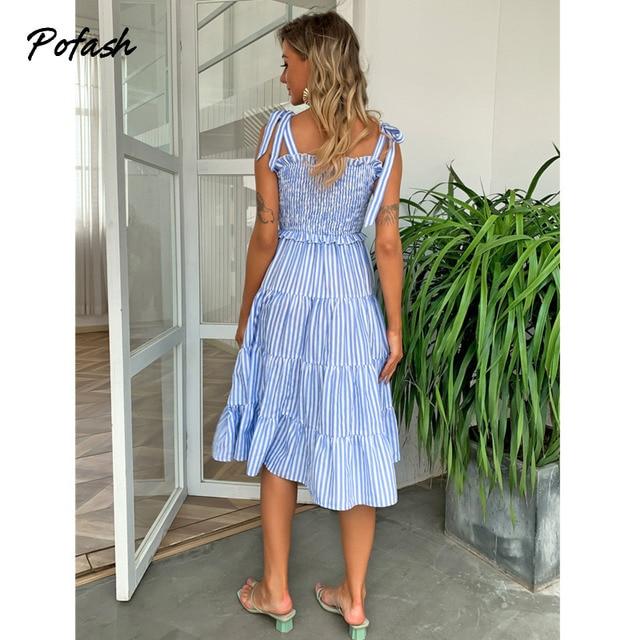 Pofash Blue Tie Bow Bohemian Dress Women Ruched High Waist Backless Spaghetti Strap Midi Dresses Summer Ruffle Beach Vestidos 2