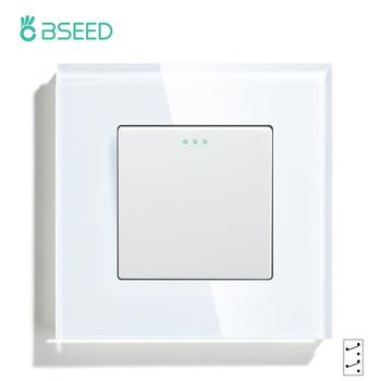Przełączniki ścienne BSEED przycisk 1 2 3Gang przełącznik pośredni Panel szklany przełączniki mechaniczne Standard ue biały czarny złoty tanie i dobre opinie CN (pochodzenie) ROHS PRZEŁĄCZNIKI PRZEŁĄCZNIK WCISKANY 86*86*35mm White Black Glass Panel Iron Plate Plastic Switch Module