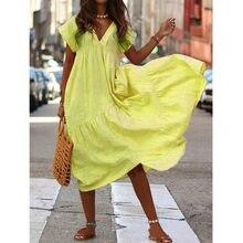 Summer Ruffles Dress Women 2021 Elegant Short Sleeve Plus Size Dresses Plus Size A-Line Flowy Maxi Dresses Woman robe femme 5XL