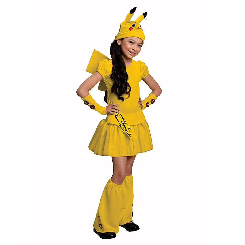 Girls Pikachu Pokemon Go Costume Wagging Tail  Halloween Kids Cosplay Carnival Party Fancy Dress-Up