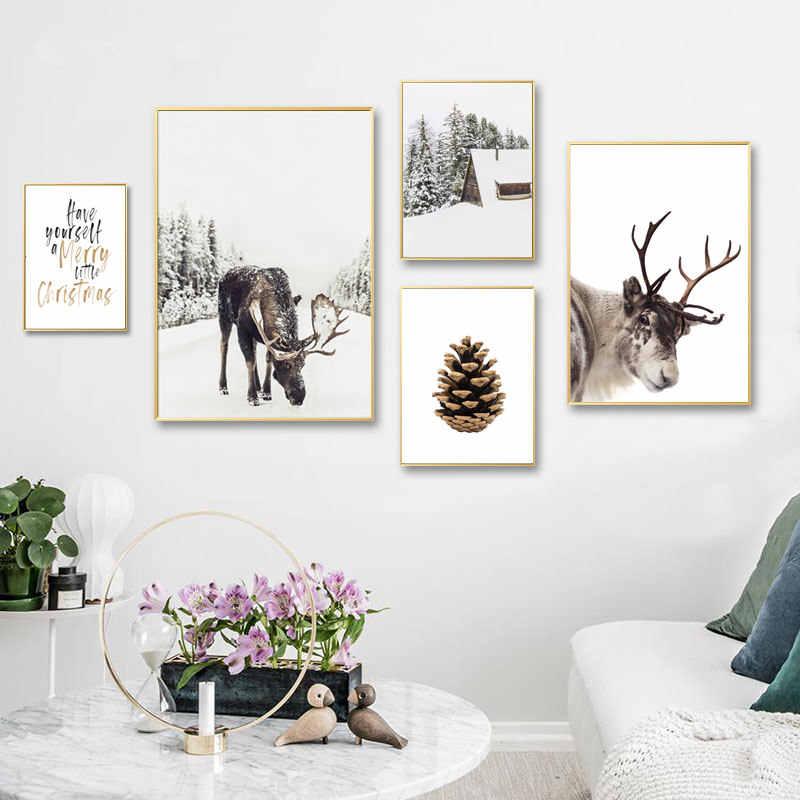 Олень в снежной зимней елке плакат скандинавские настенные художественные картины на холсте настенные картины для гостиной украшения дома Рождественский Декор