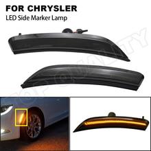 2PCS 12V Smoked Front LED Side Marker Light For Chrysler 200 2015 2016 2017 68206449AA Car Styling 3W Amber Side Marker Lamps