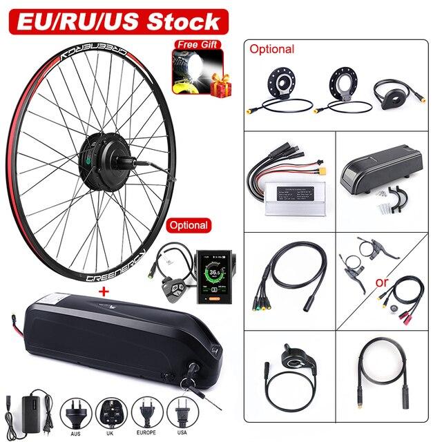 48v 500 ワットbafang電動自転車ギアブラシレスハブモーターリアホイール変換キット 48v 17.5Ah eバイクバッテリー内蔵サムスンの携帯