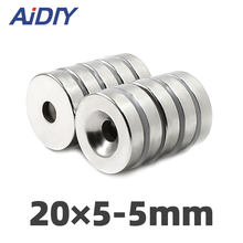Aidiy 10 pcs 20x5mm Hole 5mm N35 Super strong ring countersunk magnets  permanent neodymium rare earth magnet sale neodymium magnets iman 3 pcs lot n35 20x10x5mm strong ring countersunk rare earth